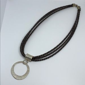 Silpada N1499 sterling silver leather necklace